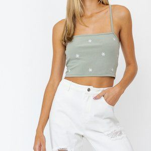 Sage Embroidered Tank Top